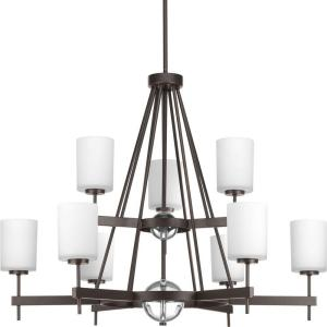 Progress Lighting Compass Collection 9-Light Antique Bronze Chandelier with Shade with... by Progress Lighting