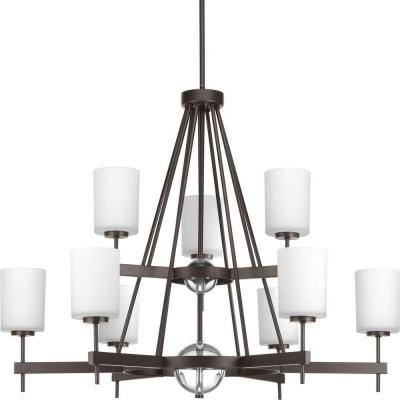 Compass Collection 9-Light Antique Bronze Chandelier with Opal Etched Glass Shade