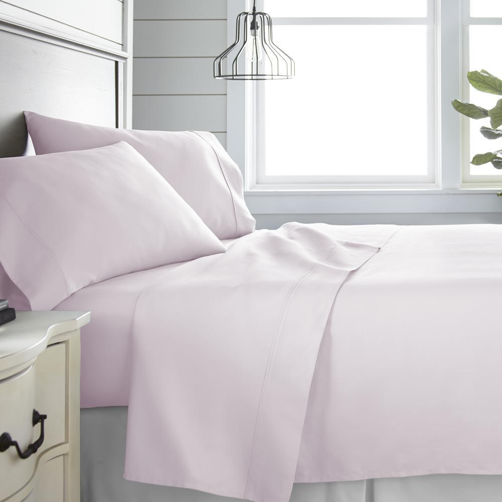 4 Piece Blush 300 Thread Count Cotton California King Bed Sheet Set