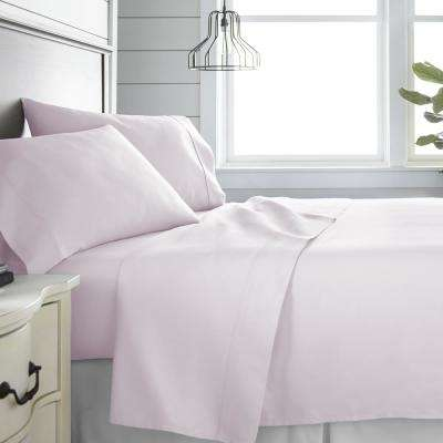 4-Piece Blush 300 Thread Count Cotton Queen Bed Sheet Set