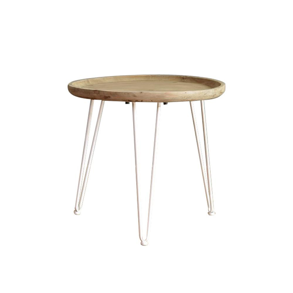 Brown Wood End Table with White Base