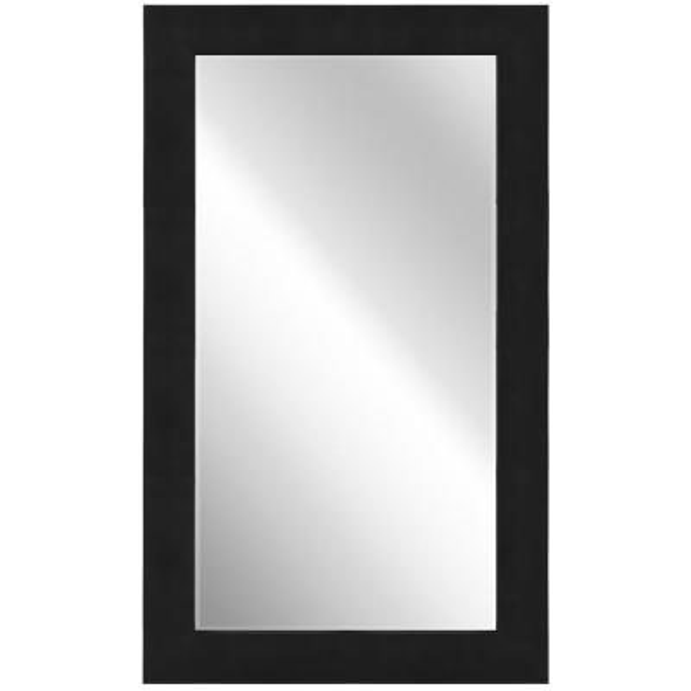 80 in. x 48 in. Black on Black Metallic Shagreen Leather Framed Beveled Mirror