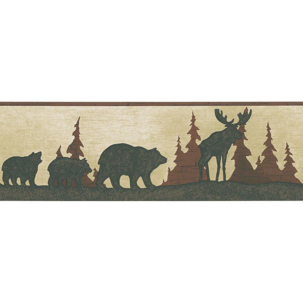 Red Mountain Animal Silhouettes Wallpaper Border Sample