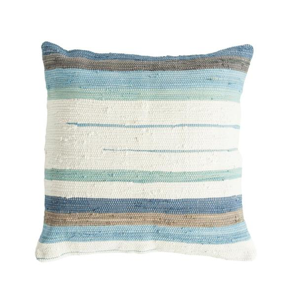Blue, Green and Brown 32 in. x 32 in. Throw Pillow Striped Cotton Blend Chindi