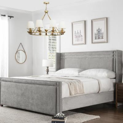 Elle Silver Grey King Upholstered Bed