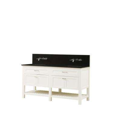 Preswick Spa Premium 70 in. W x 25 in. D Vanity in White with Granite Vanity Top in Black with White Basin