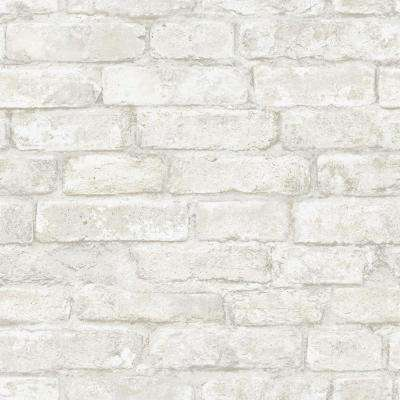 White Denver Brick Whites & Off-Whites Vinyl Strippable Roll (Covers 28.2 sq. ft.)
