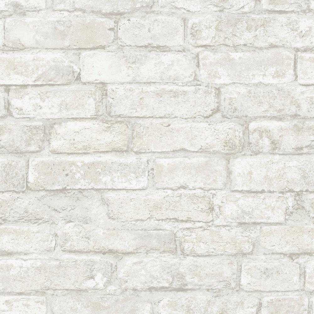 White Denver Brick White Textured Vinyl Strippable Roll (Covers 28.2 sq. ft.)