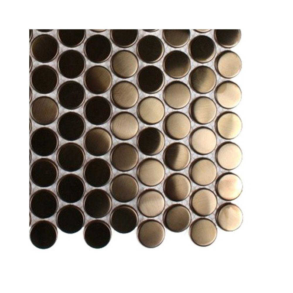 Splashback Tile Metal Copper Penny Round Stainless Steel Floor and Wall Tile - 6 in. x 6 in. Tile Sample-DISCONTINUED
