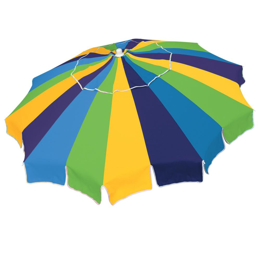 d36926b17588 Rio Beach. 6 ft. Market Vented Beach Umbrella with Integrated Sand Anchor  in Blue