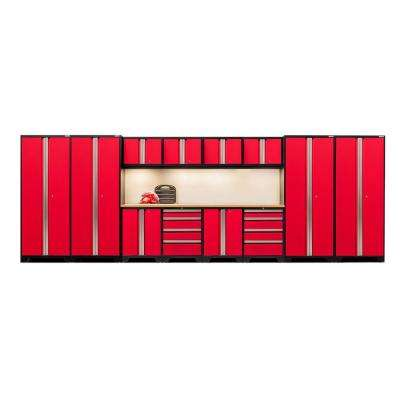 Bold 3 Series 77 in. H x 216 in. W x 18 in. D 24-Gauge Welded Steel Bamboo Worktop Cabinet Set in Red (14-Piece)