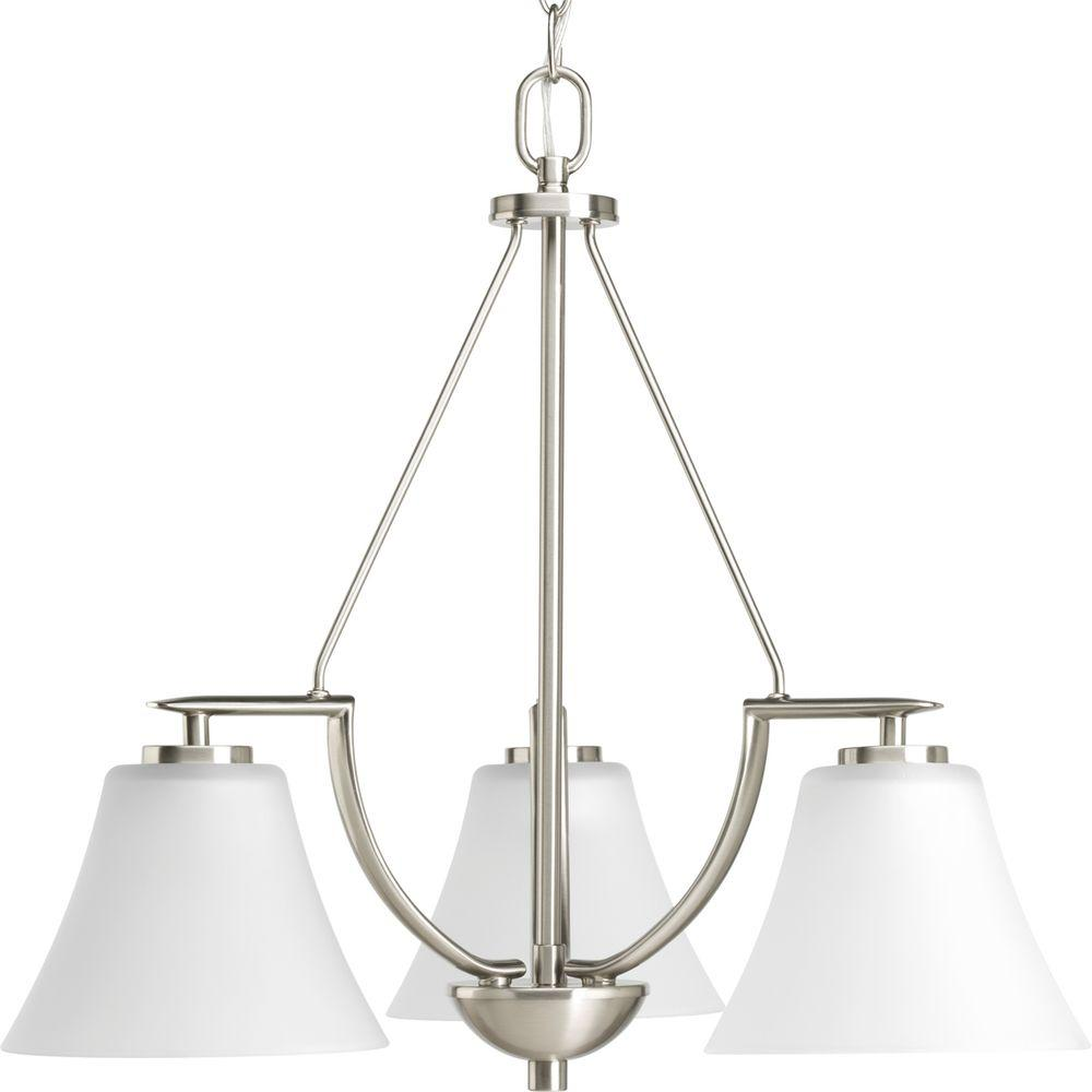 Progress Lighting Bravo Collection 3-Light Brushed Nickel Chandelier with Etched Glass