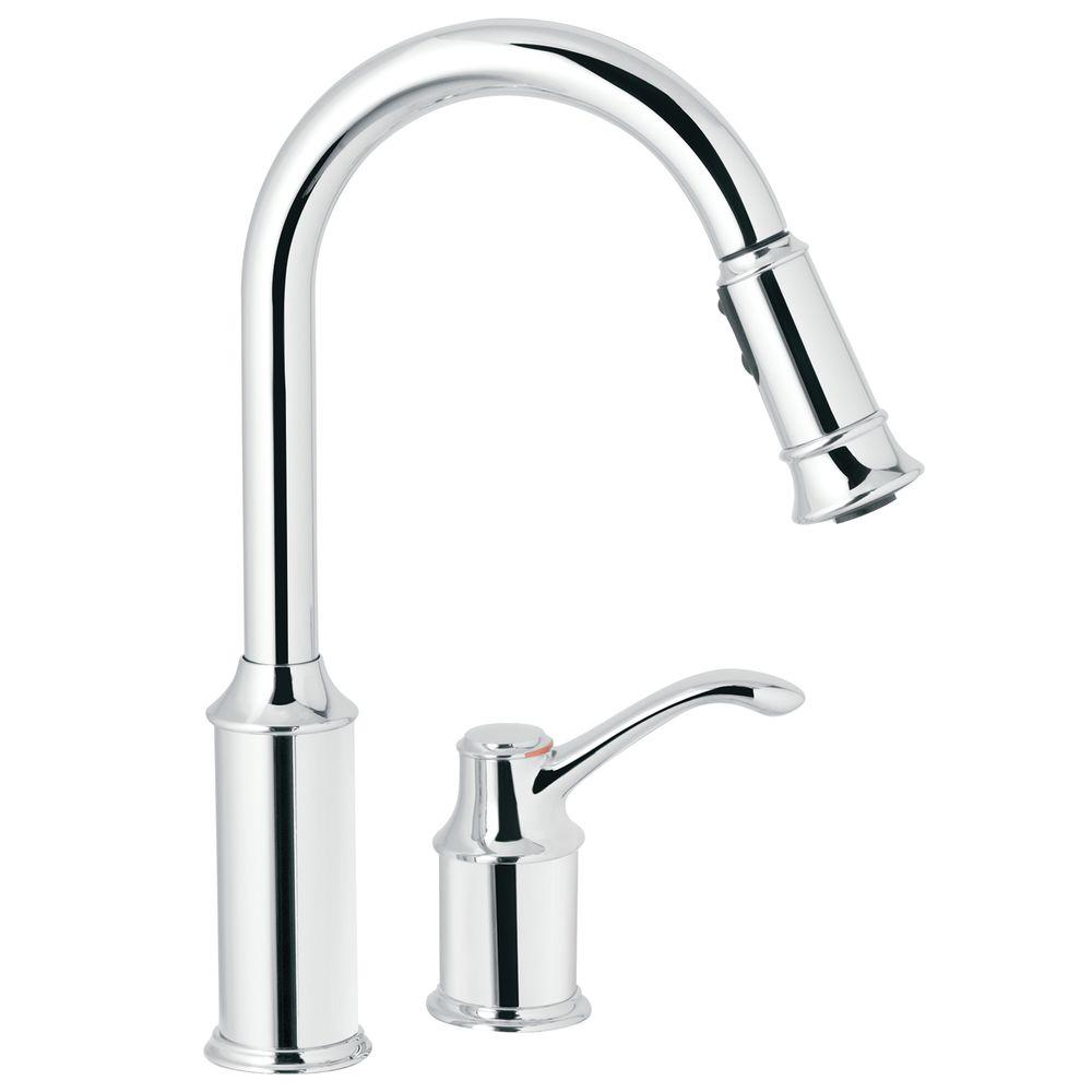 Aberdeen Single-Handle Pull-Down Sprayer Kitchen Faucet with Reflex in Chrome