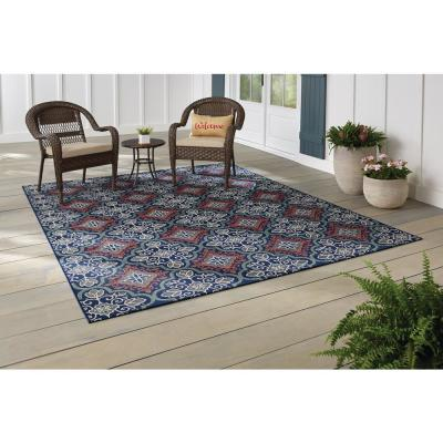 Star Moroccan Navy/Coral 5 ft. x 7 ft Floral Indoor/Outdoor Area Rug