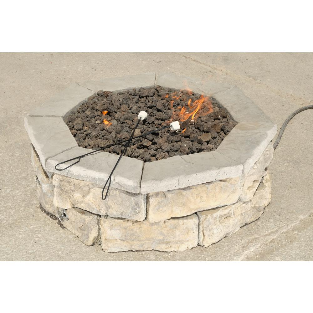 30 in. Concrete Fossill Limestone Gas Fire Pit Kit