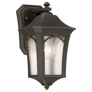 Solida 1-Light Oil Rubbed Bronze with Gold Highlights Outdoor Wall Lantern Sconce with Clear Seeded Glass