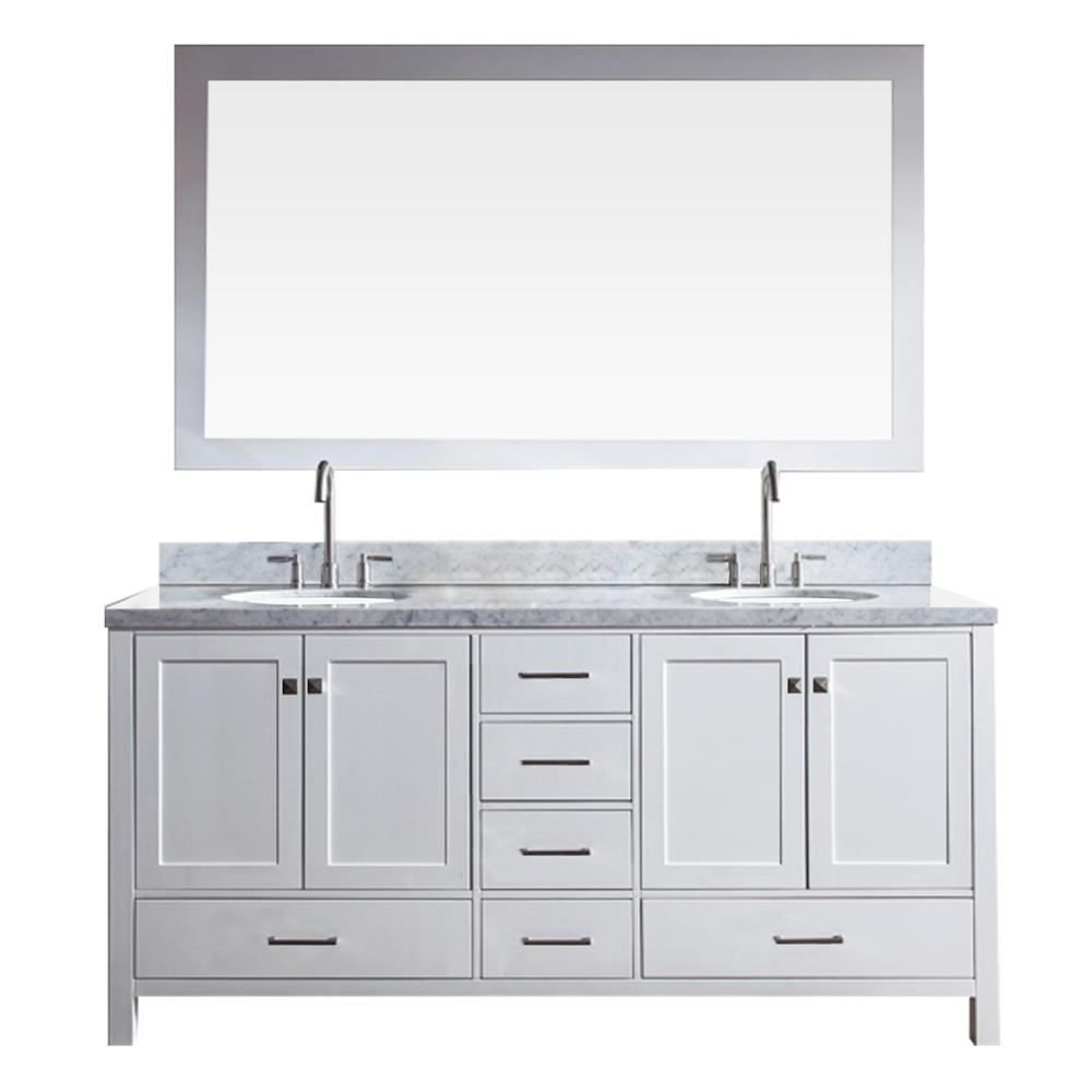 Bath Vanity In White With Marble Top Carrara