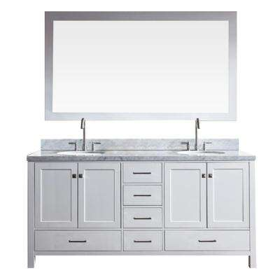 Cambridge 73 in. Bath Vanity in White with Marble Vanity Top in Carrara White with White Basins and Mirror