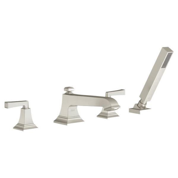 American Standard Town Square S 2 Handle Deck Mount Roman Tub Faucet With Hand Shower In Brushed Nickel T455901 295 The Home Depot