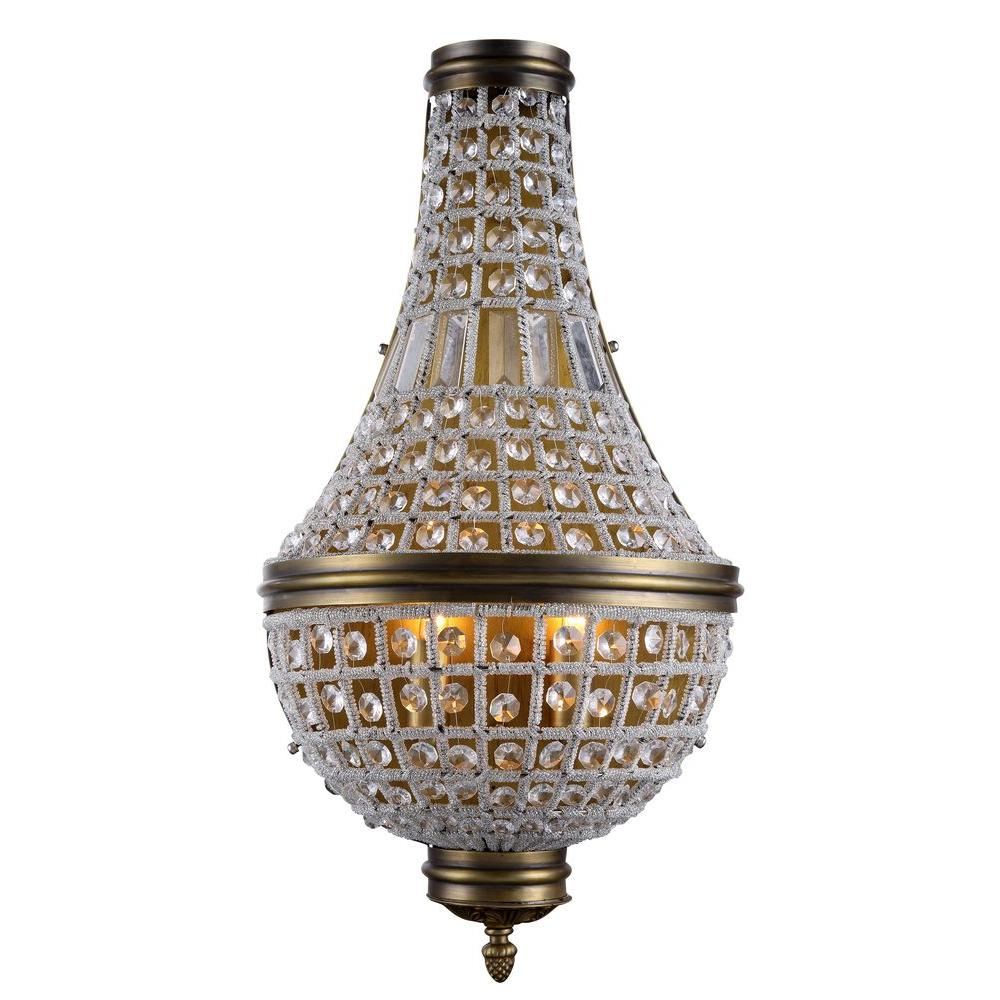 Elegant Lighting Stella 3 Light French Gold Royal Cut Crystal Wall Sconce