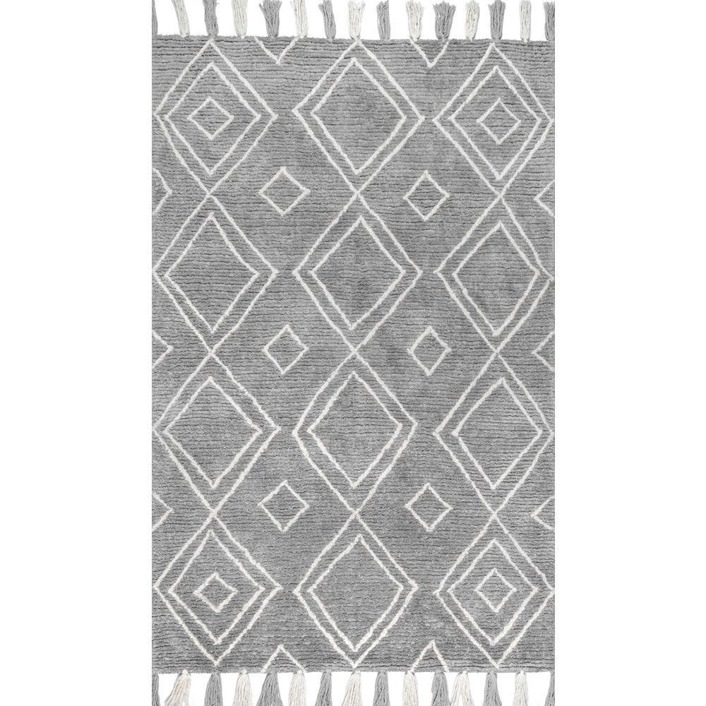 Lisha moroccan diamond tassel gray 6 ft x 9 ft area rug