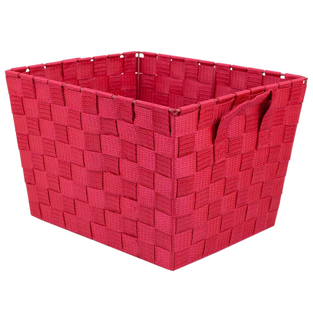 Home Basics 10 in. x 12 in. Red Polyester Woven Bin