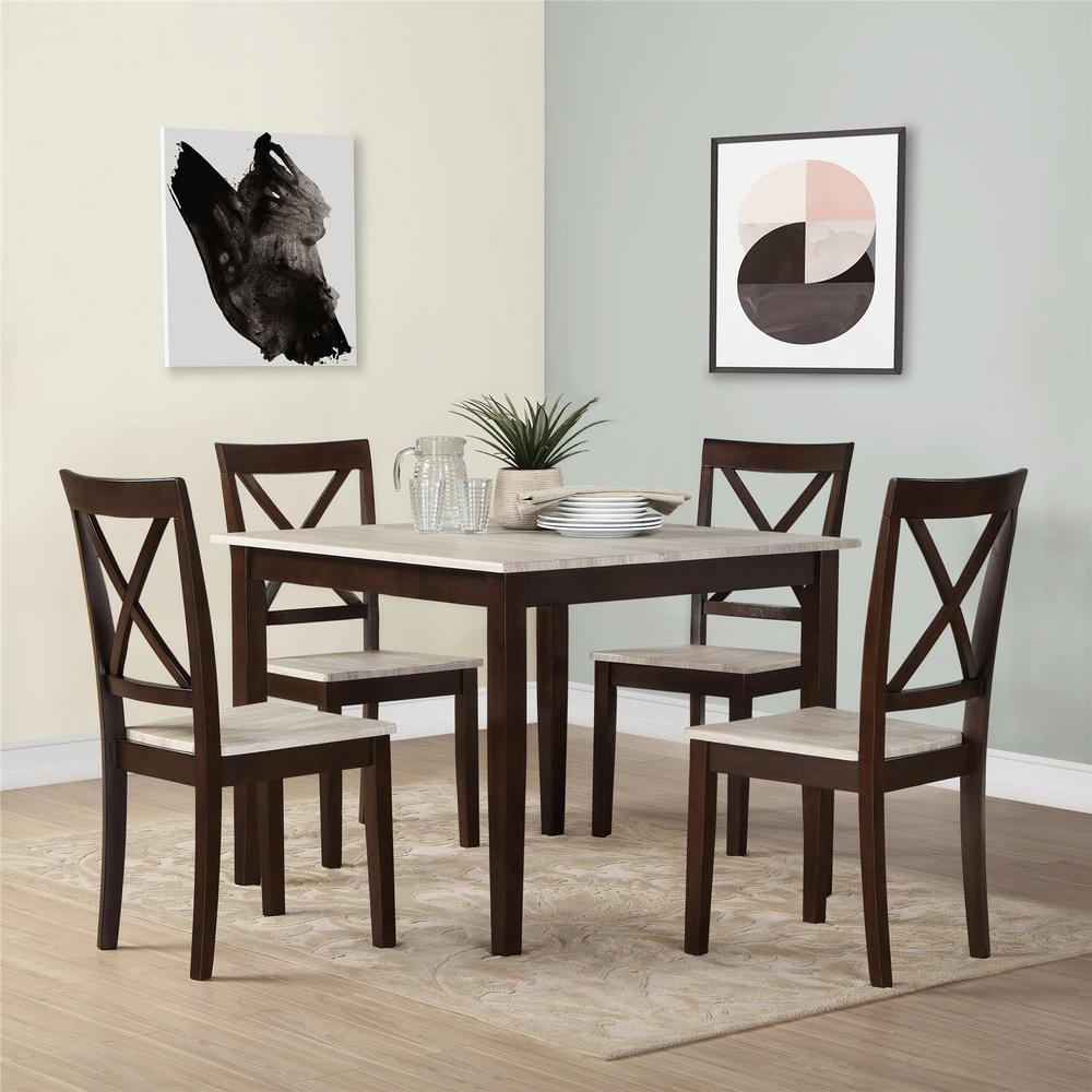 Living And Dining Room Sets: Dorel Living Sunnybrook Rustic 5-Piece Espresso Dining Set