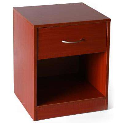 Brown Wooden Nightstand with Drawer and Shelf Storage
