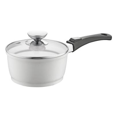 Vario Click Pearl 1.25 qt. Cast Aluminum Ceramic Nonstick Sauce Pot in White with Glass Lid