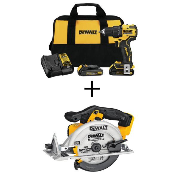 ATOMIC 20-Volt MAX Cordless Brushless Compact 1/2 in. Drill/Driver, (2) 20-Volt 1.3Ah Batteries & 6-1/2 in. Circular Saw