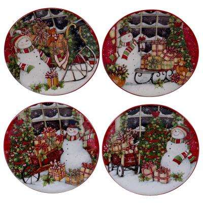 Snowman's Sleigh 6 in. Canape Plate (Set of 4)