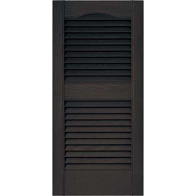 15 in. x 31 in. Louvered Vinyl Exterior Shutters Pair in #010 Musket Brown