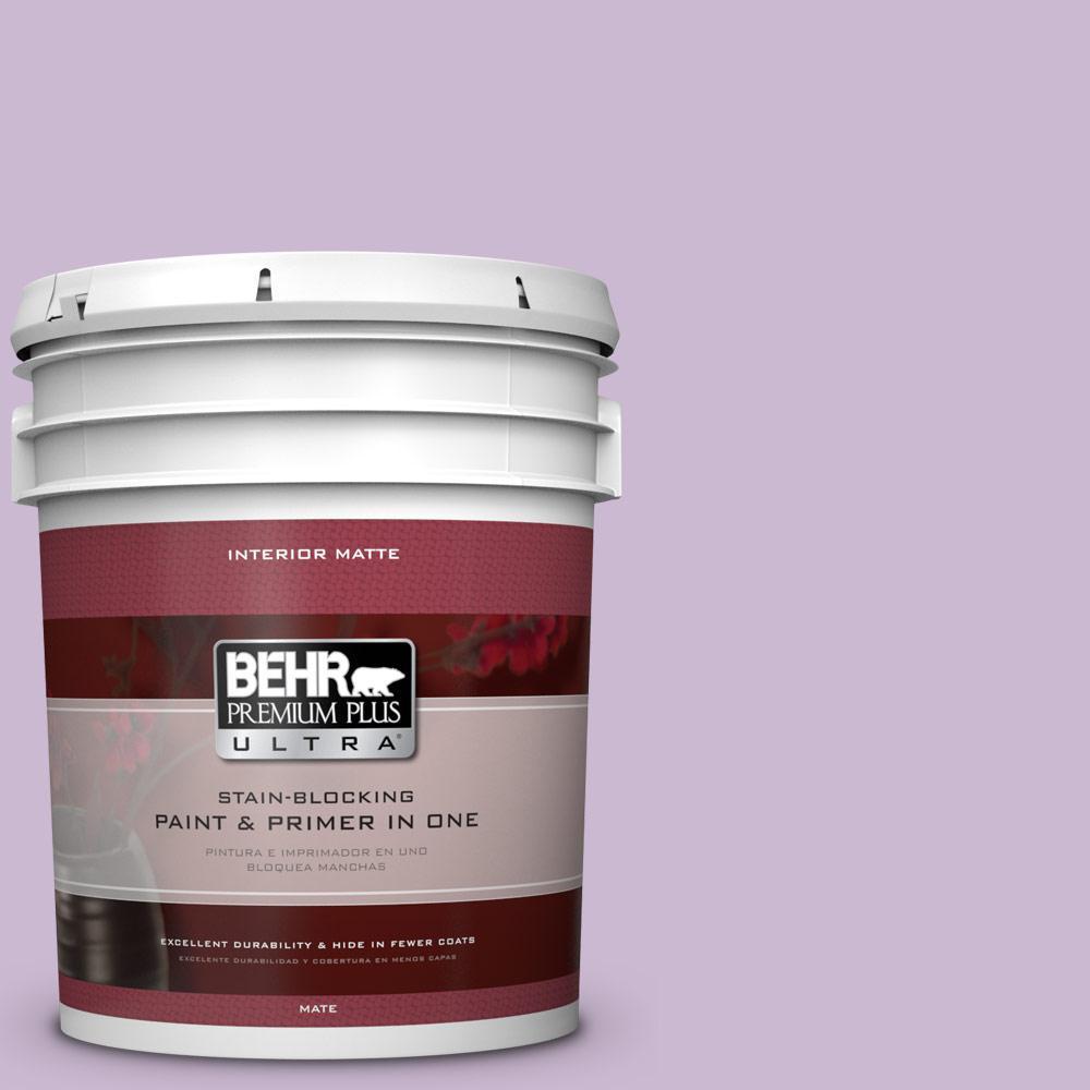 BEHR Premium Plus Ultra 5 gal. #660C-3 Sweet Petal Matte Interior Paint and Primer in One