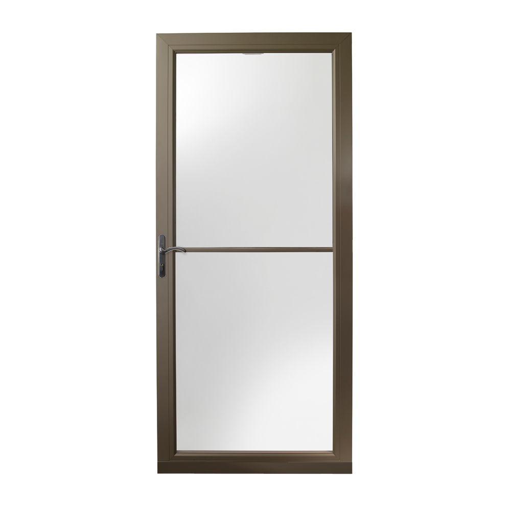 36 in. x 80 in. 3000 Series Terratone Left-Hand Self-Storing Easy Install Storm Door with Oil-Rubbed Bronze Hardware