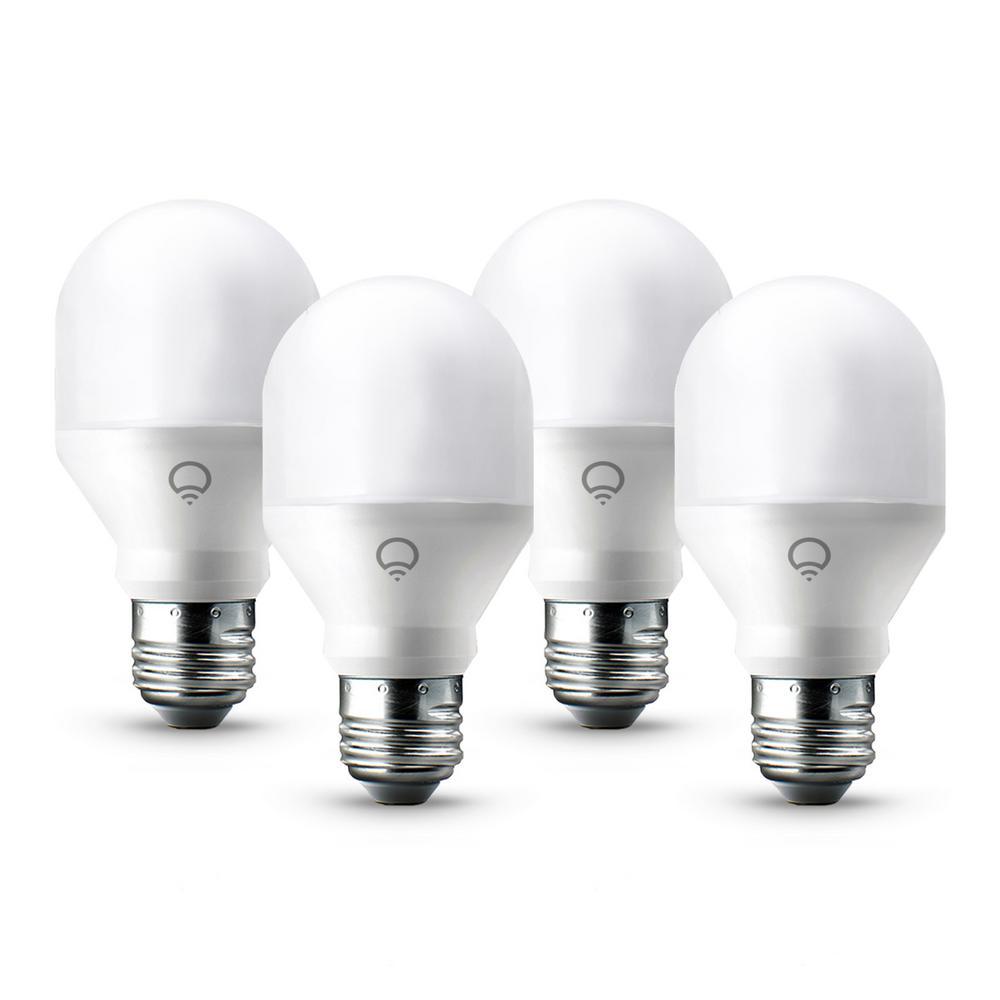 60W Equivalent Mini Multi-Color A19 Dimmable Wi-Fi Smart LED Light Bulb (4-Pack)