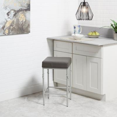 Gwyneth 24 in. Charcoal Brown and Silver Bar Stool