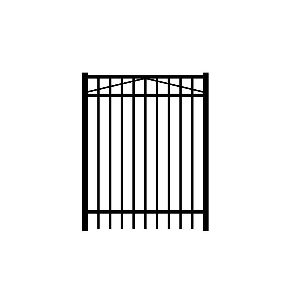 Jefferson 4 ft. W x 5 ft. H Black Aluminum 3-Rail