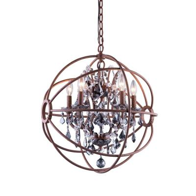 Geneva 5-Light Rustic Intent Chandelier with Silver Shade Grey Crystal