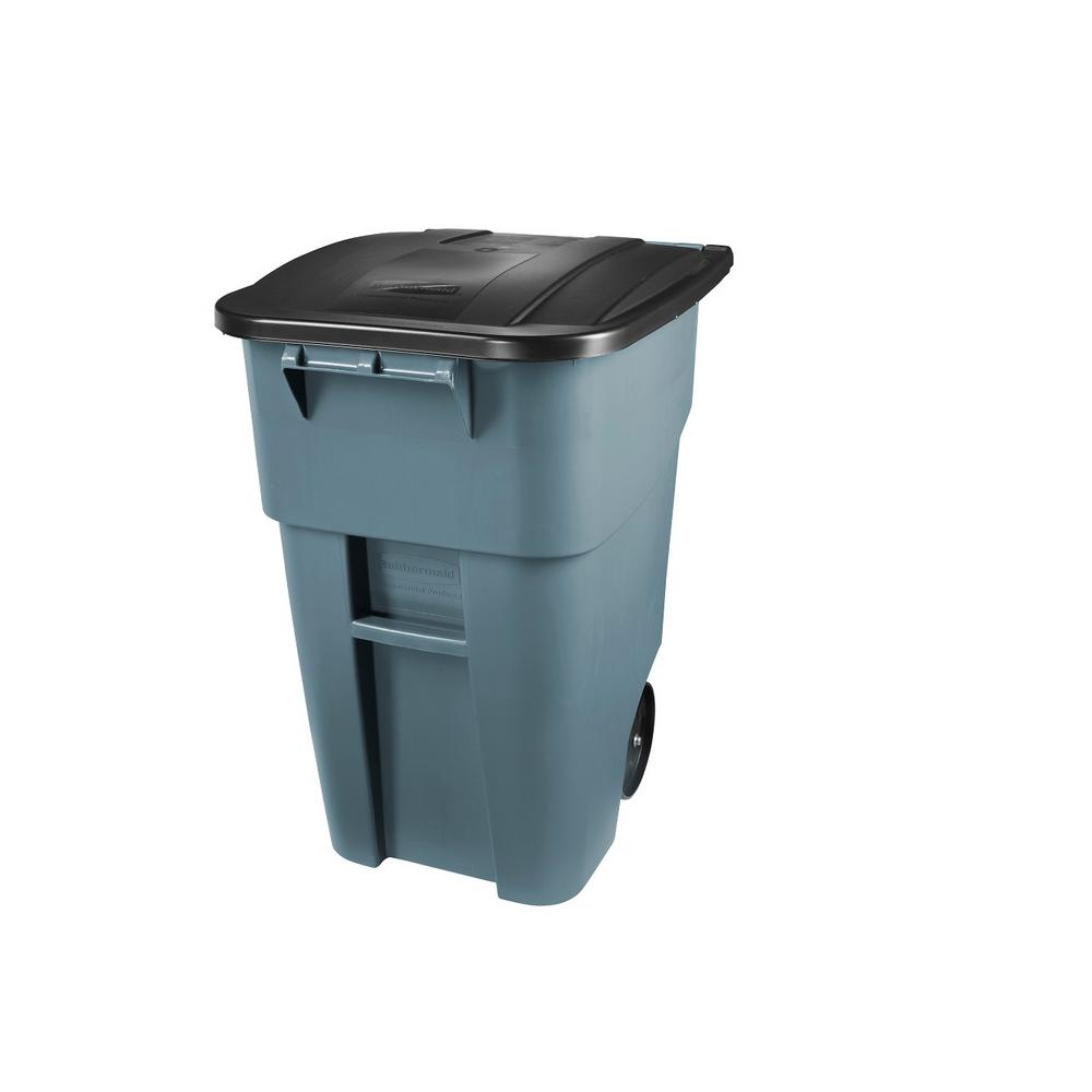 Rubbermaid Commercial Products Brute 50 Gal  Grey Rollout Trash Can with Lid