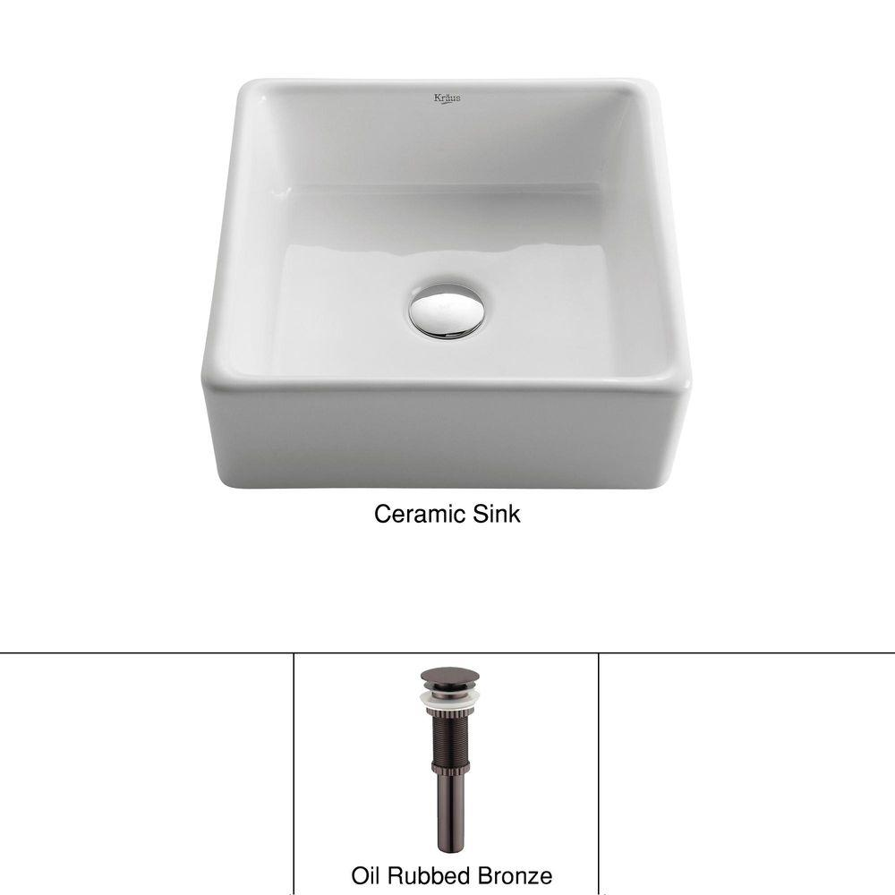 KRAUS Square Ceramic Vessel Bathroom Sink in White with Pop Up Drain in Oil Rubbed Bronze