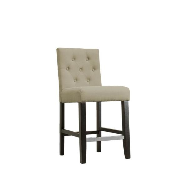 Heather Beige Upholstered Bar Stools, 24 in., (Set of 2)