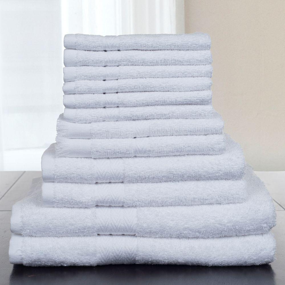 Lavish Home 12-Piece 100% Cotton Towel Set in White