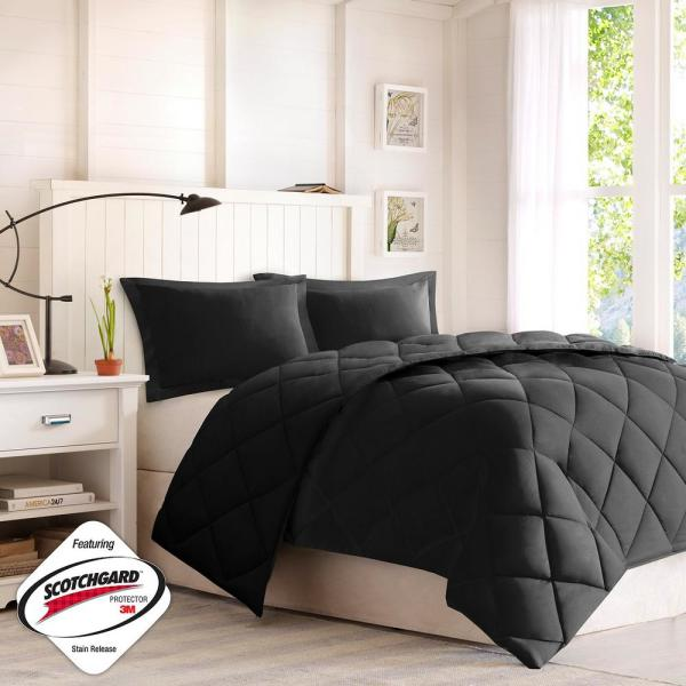 Windsor 3-Piece Black/Black Full/Queen 3M Scotchgard Diamond Quilting Reversible Down Alternative Comforter Set