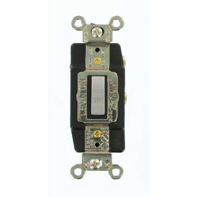 20 Amp Industrial Grade Heavy Duty Single-Pole Double-Throw Center-Off Maintained Contact Toggle Switch, Gray