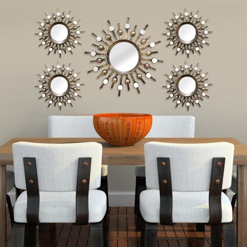 Stratton Home Decor Burst Wall Mirrors (Set of 5) SHD0087 - The ...