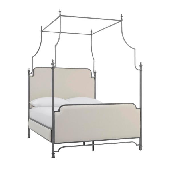 Adelina Silver Metal Queen Canopy Bed with Ivory Fabric (64.5 in W. X 96 in H.)