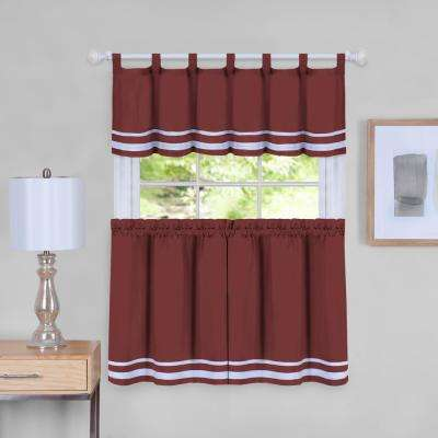 Dakota 58 in. W x 36 in. L  Polyester Tier and Valance Curtain Set in Burgundy
