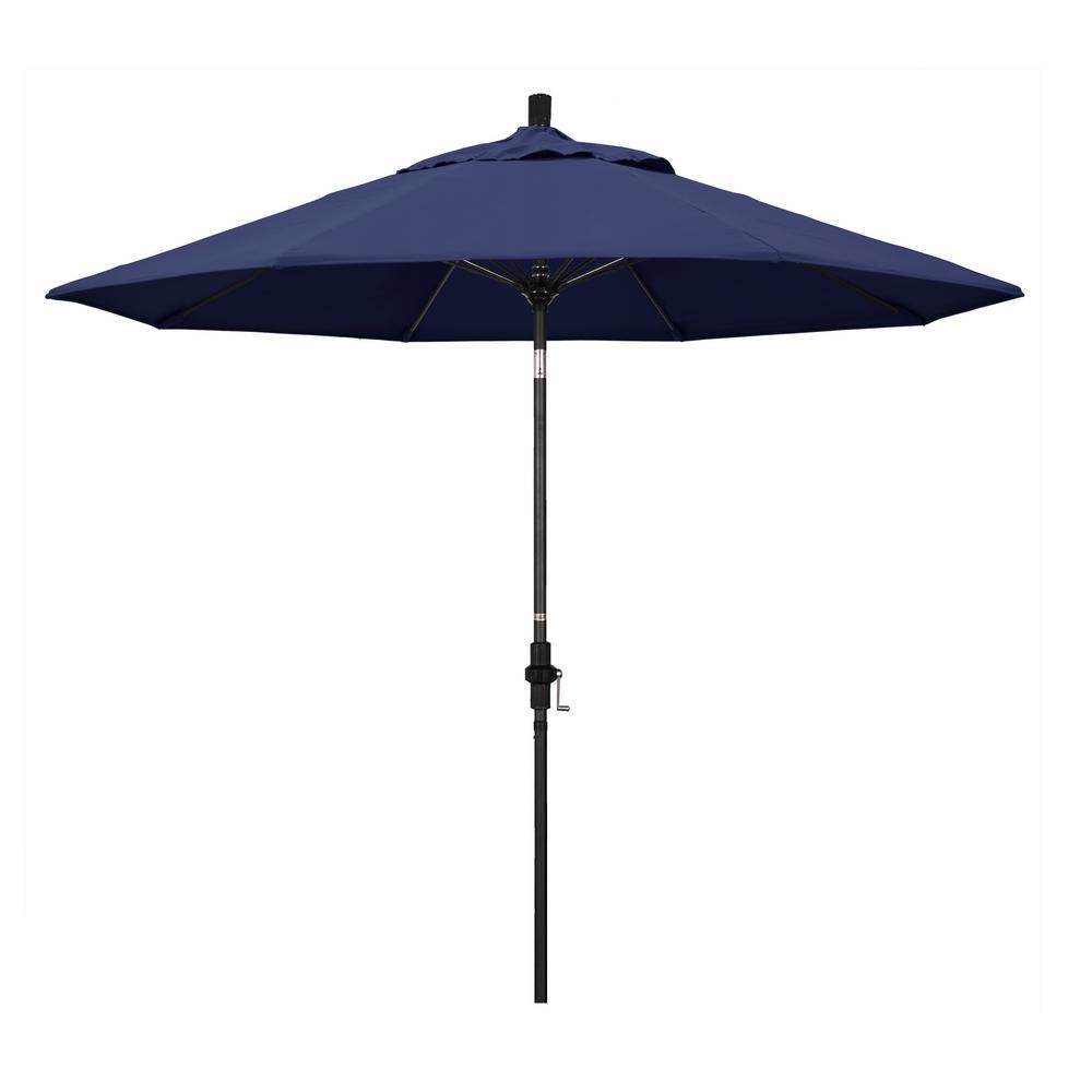 California Umbrella 9 ft. Fiberglass Market Collar Tilt M Black Patio Umbrella in Navy Blue Olefin