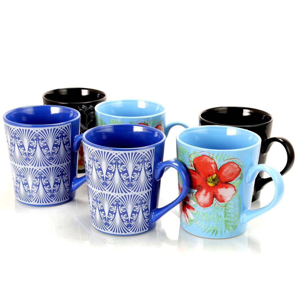 Floral Garden 23 oz. Assorted Designs Cup (Set of 6)