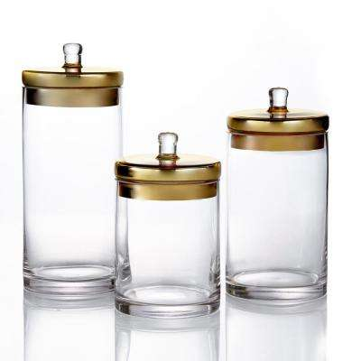 3-Piece Glass Canisters with Golden Lids in Small Medium and Large